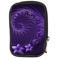 Dark Violet Abstract Flowers Compact Camera Leather Case
