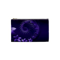 Dark Violet Abstract Flowers Cosmetic Bag (Small)