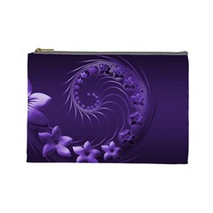 Dark Violet Abstract Flowers Cosmetic Bag (Large)