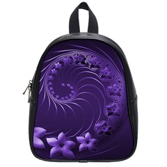 Dark Violet Abstract Flowers School Bag (small)