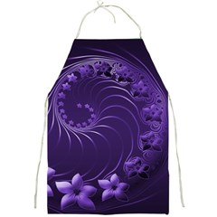Dark Violet Abstract Flowers Apron