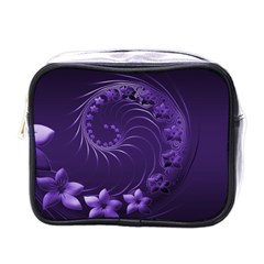 Dark Violet Abstract Flowers Mini Travel Toiletry Bag (One Side)