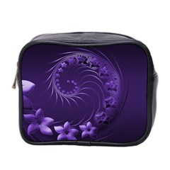 Dark Violet Abstract Flowers Mini Travel Toiletry Bag (two Sides)