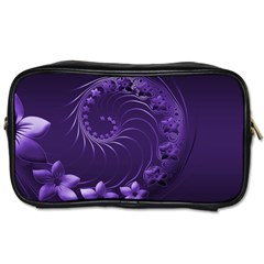Dark Violet Abstract Flowers Travel Toiletry Bag (Two Sides)