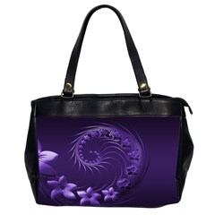 Dark Violet Abstract Flowers Oversize Office Handbag (two Sides)