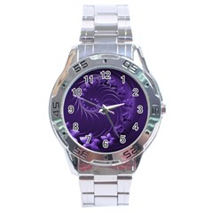 Dark Violet Abstract Flowers Stainless Steel Watch (Men s)
