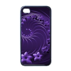 Dark Violet Abstract Flowers Apple iPhone 4 Case (Black)