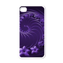 Dark Violet Abstract Flowers Apple Iphone 4 Case (white)