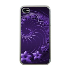 Dark Violet Abstract Flowers Apple iPhone 4 Case (Clear)