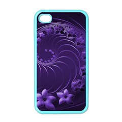 Dark Violet Abstract Flowers Apple iPhone 4 Case (Color)