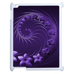 Dark Violet Abstract Flowers Apple Ipad 2 Case (white)