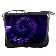 Dark Violet Abstract Flowers Messenger Bag