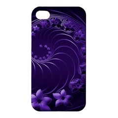 Dark Violet Abstract Flowers Apple iPhone 4/4S Premium Hardshell Case
