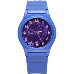 Dark Violet Abstract Flowers Plastic Sport Watch (small)