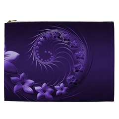 Dark Violet Abstract Flowers Cosmetic Bag (xxl)