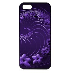 Dark Violet Abstract Flowers Apple Iphone 5 Seamless Case (black)