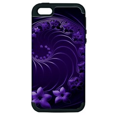 Dark Violet Abstract Flowers Apple iPhone 5 Hardshell Case (PC+Silicone)