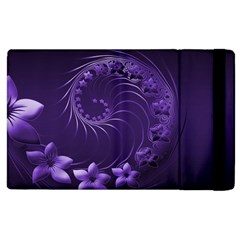 Dark Violet Abstract Flowers Apple iPad 3/4 Flip Case