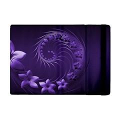 Dark Violet Abstract Flowers Apple iPad Mini Flip Case