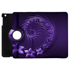 Dark Violet Abstract Flowers Apple Ipad Mini Flip 360 Case