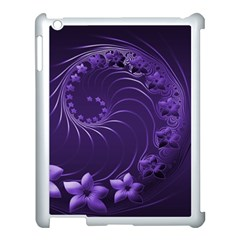 Dark Violet Abstract Flowers Apple Ipad 3/4 Case (white)
