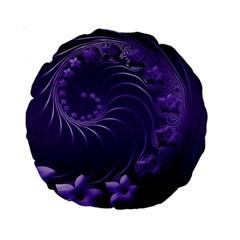 Dark Violet Abstract Flowers 15  Premium Round Cushion