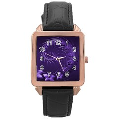 Dark Violet Abstract Flowers Rose Gold Leather Watch