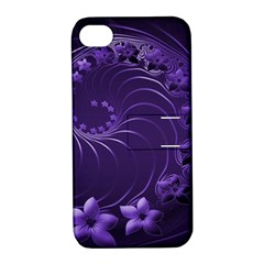 Dark Violet Abstract Flowers Apple iPhone 4/4S Hardshell Case with Stand