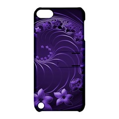 Dark Violet Abstract Flowers Apple Ipod Touch 5 Hardshell Case With Stand