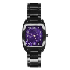 Dark Violet Abstract Flowers Men s Stainless Steel Barrel Analog Watch