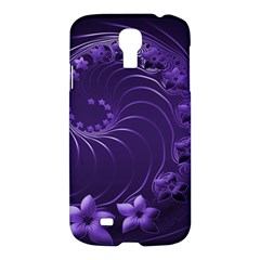 Dark Violet Abstract Flowers Samsung Galaxy S4 I9500 Hardshell Case