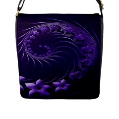 Dark Violet Abstract Flowers Flap Closure Messenger Bag (Large)