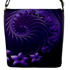 Dark Violet Abstract Flowers Flap Closure Messenger Bag (small)