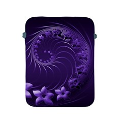 Dark Violet Abstract Flowers Apple iPad 2/3/4 Protective Soft Case
