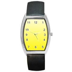 Cream To Cadmium Yellow Gradient Tonneau Leather Watch