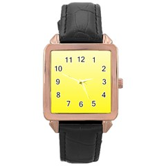 Cream To Cadmium Yellow Gradient Rose Gold Leather Watch
