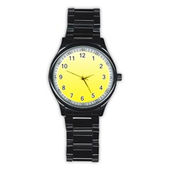 Cream To Cadmium Yellow Gradient Sport Metal Watch (Black)