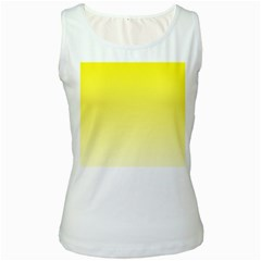 Cadmium Yellow To Cream Gradient Womens  Tank Top (White)