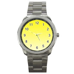 Cadmium Yellow To Cream Gradient Sport Metal Watch