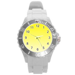 Cadmium Yellow To Cream Gradient Plastic Sport Watch (large)