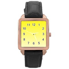 Cadmium Yellow To Cream Gradient Rose Gold Leather Watch