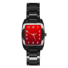 Red To Dark Scarlet Gradient Men s Stainless Steel Barrel Analog Watch
