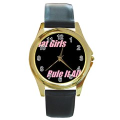 Petchatgirlsrule Round Metal Watch (gold Rim)