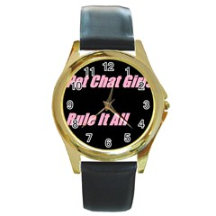 Petchatgirlsrule2 Round Metal Watch (Gold Rim)