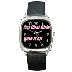 Petchatgirlsrule2 Square Leather Watch