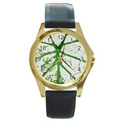 Leaf Patterns Round Metal Watch (Gold Rim)