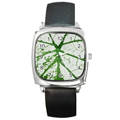 Leaf Patterns Square Leather Watch