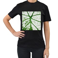 Leaf Patterns Womens' Two Sided T-shirt (Black)