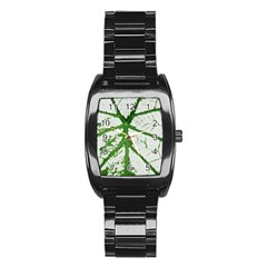 Leaf Patterns Men s Stainless Steel Barrel Analog Watch