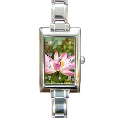 A Pink Lotus Rectangular Italian Charm Watch